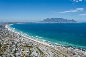 Aerial view of Table Bay by wildlife and conservation photographer Peter Chadwick